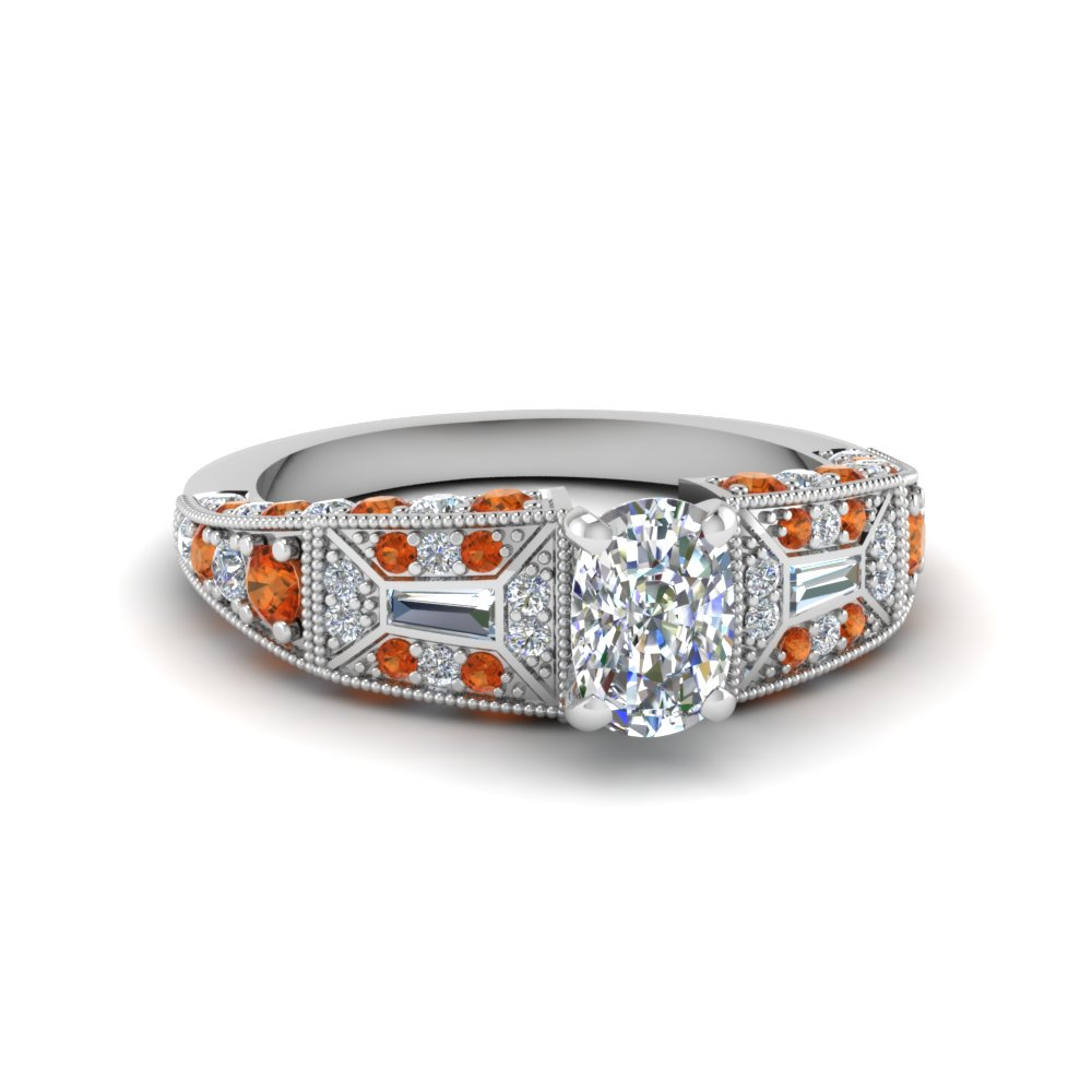 cushion cut victorian vintage style diamond engagement ring with orange sapphire in FDENR8601CURGSAOR NL WG