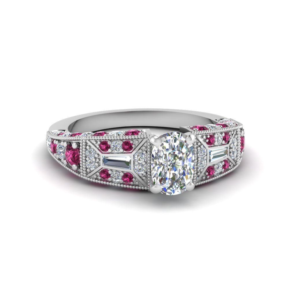 cushion cut victorian vintage style diamond engagement ring with pink sapphire in FDENR8601CURGSADRPI NL WG