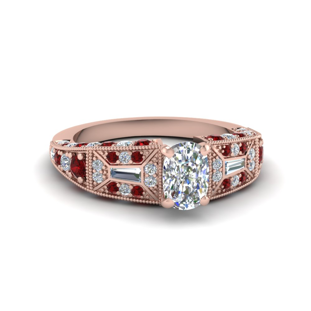 cushion cut victorian vintage style diamond engagement ring with ruby in FDENR8601CURGRUDR NL RG