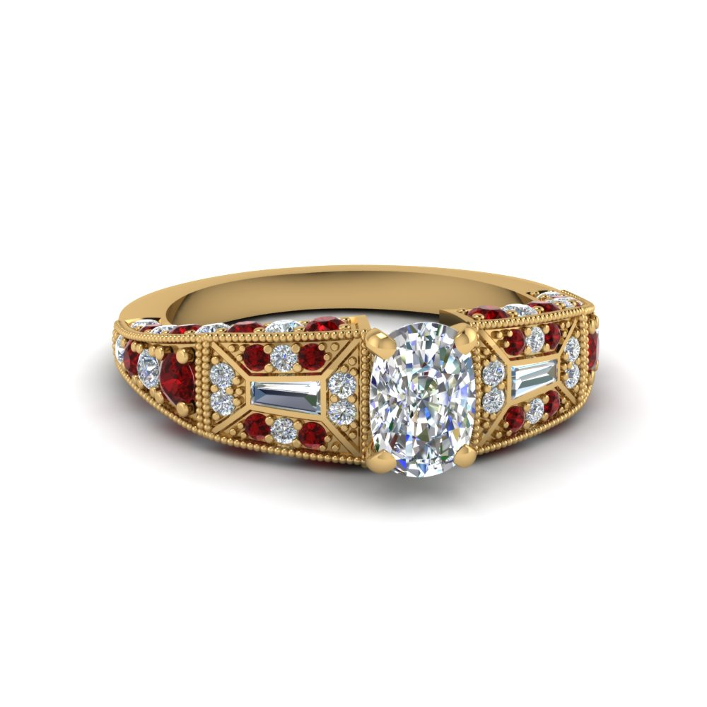 cushion cut victorian vintage style diamond engagement ring with ruby in FDENR8601CURGRUDR NL YG