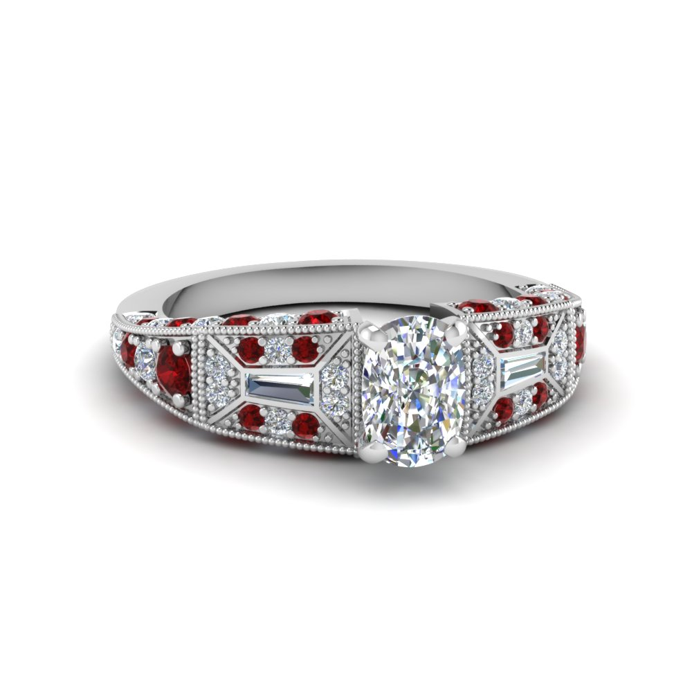 cushion cut victorian vintage style diamond engagement ring with ruby in FDENR8601CURGRUDR NL WG