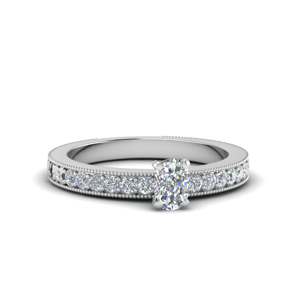 cushion cut pave diamond milgrain engagement ring in FDENS3516CUR NL WG