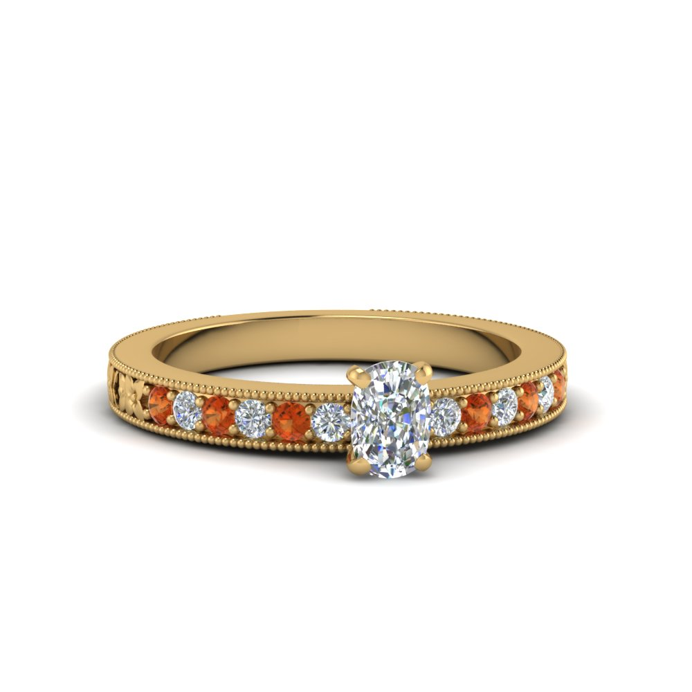cushion cut pave diamond milgrain engagement ring with orange sapphire in FDENS3516CURGSAOR NL YG