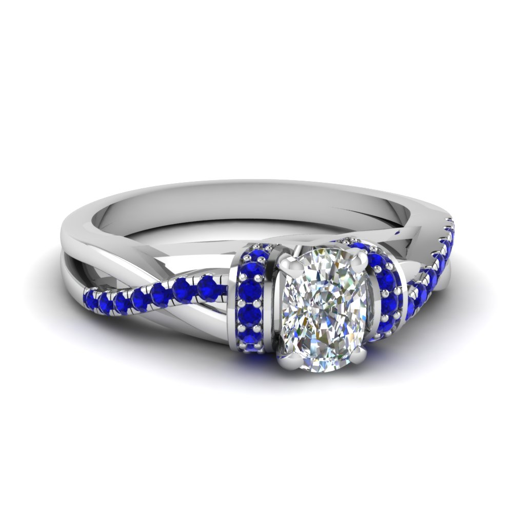 Pave Twisted Split Shank Engagement Ring