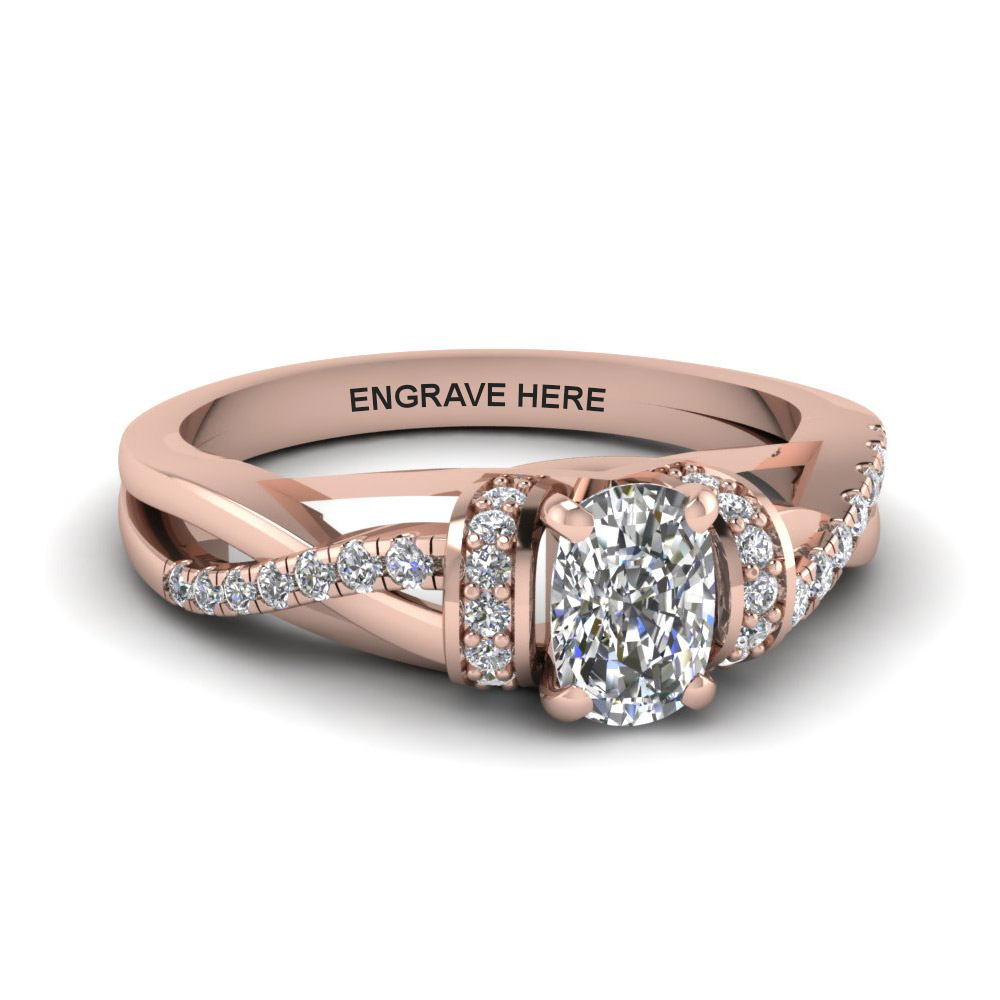 0.50 Karat Cushion Cut Engagement Rings