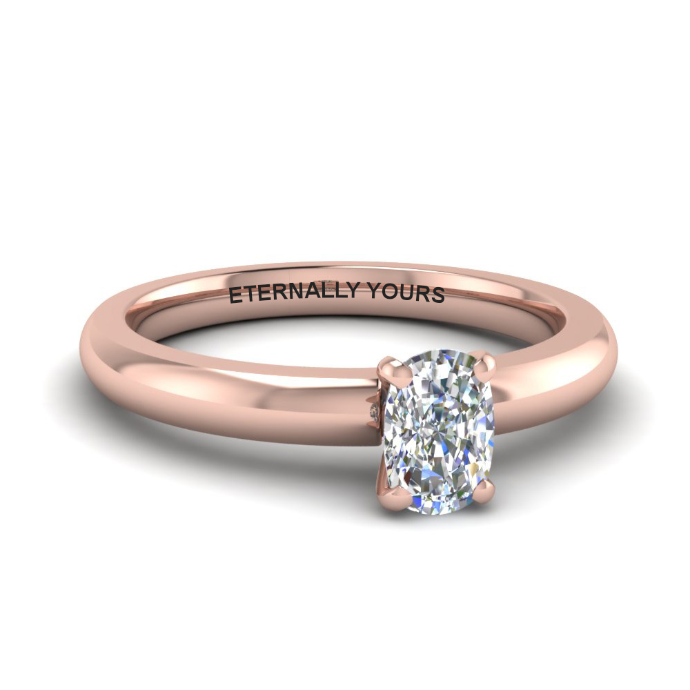 Rose Gold Cushion Cut Solitaire Rings