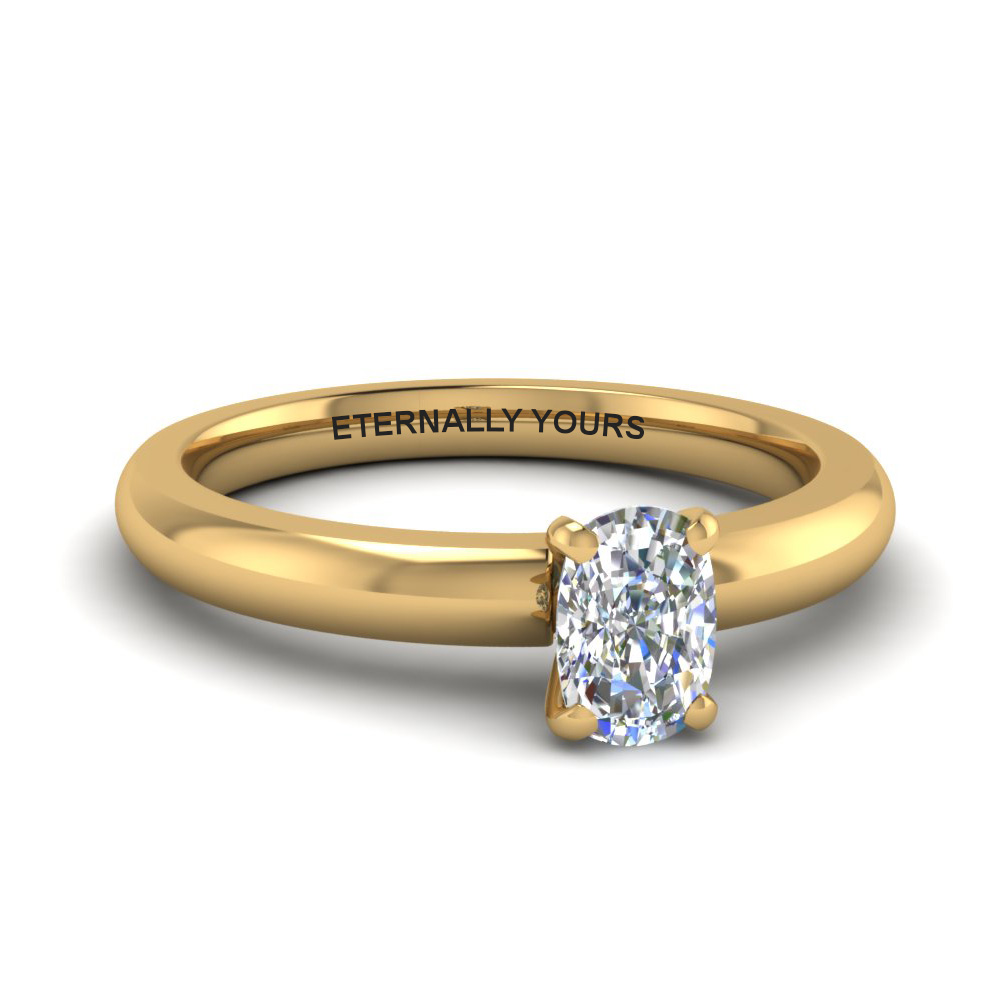 classic cushion diamond solitaire ring in FDENR8027CUR NL YG EG