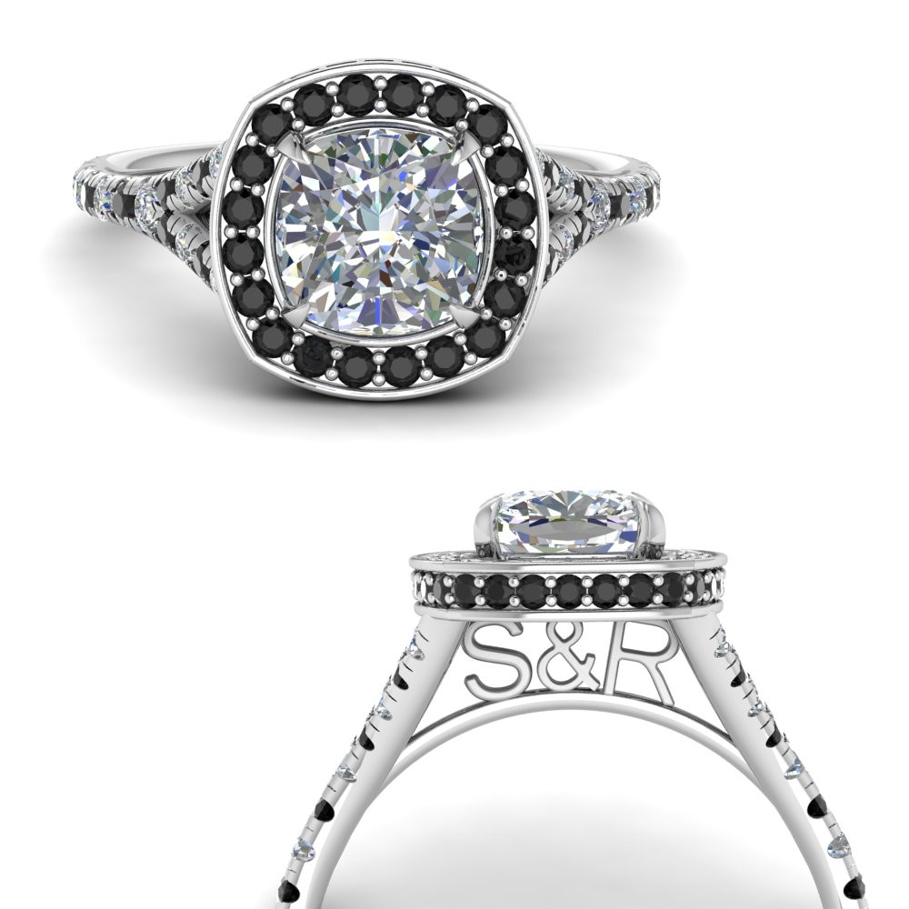 cushion-cut-personalized-under-halo-engagement-ring-with-black-diamond-in-FD9152CURGBLACKANGLE3-NL-WG