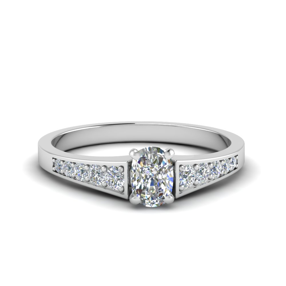 Cushion Cut Graduated Diamond Ring
