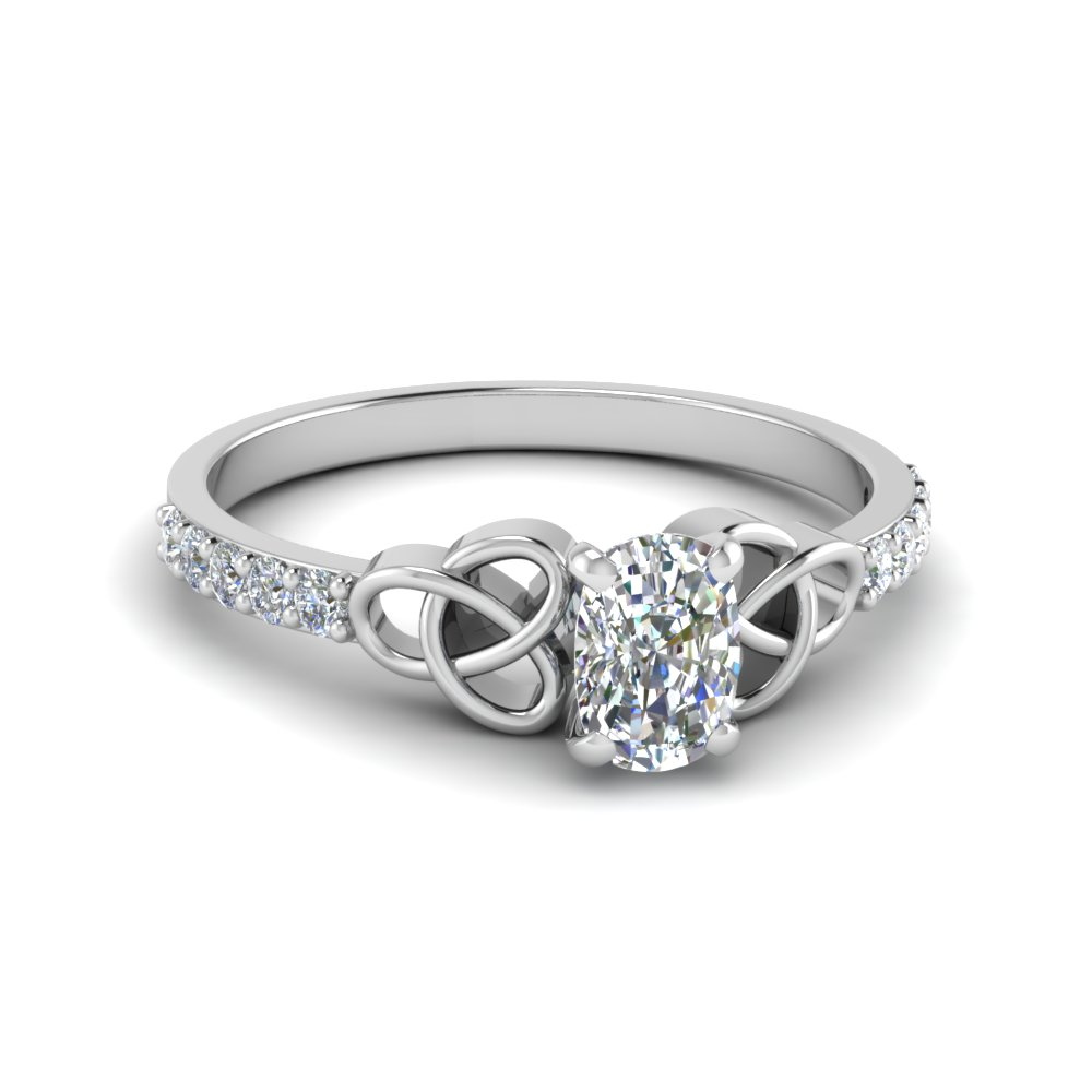 Celtic Knot Cushion Diamond Ring