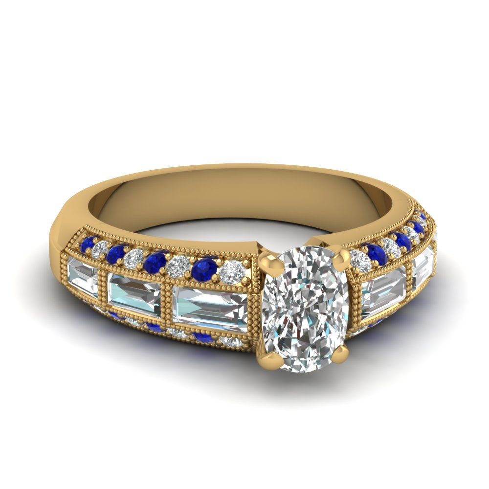 edwardian cushion diamond vintage engagement ring with sapphire in FD62254CURGSABL NL YG