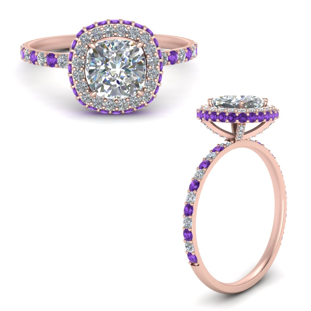 cushion-cut-rollover-halo-diamond-engagement-ring-with-purple-topaz-in-FDENR7147CURGVITOANGLE3-NL-RG