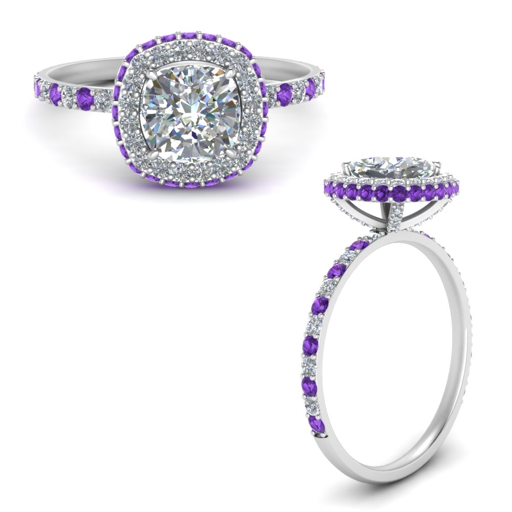 cushion-cut-rollover-halo-diamond-engagement-ring-with-purple-topaz-in-FDENR7147CURGVITOANGLE3-NL-WG