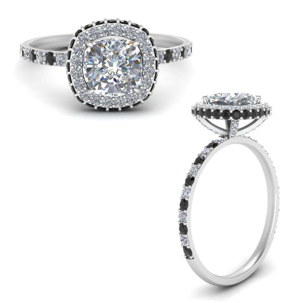 cushion-cut-rollover-halo-engagement-ring-with-black-diamond-in-FDENR7147CURGBLACKANGLE3-NL-WG