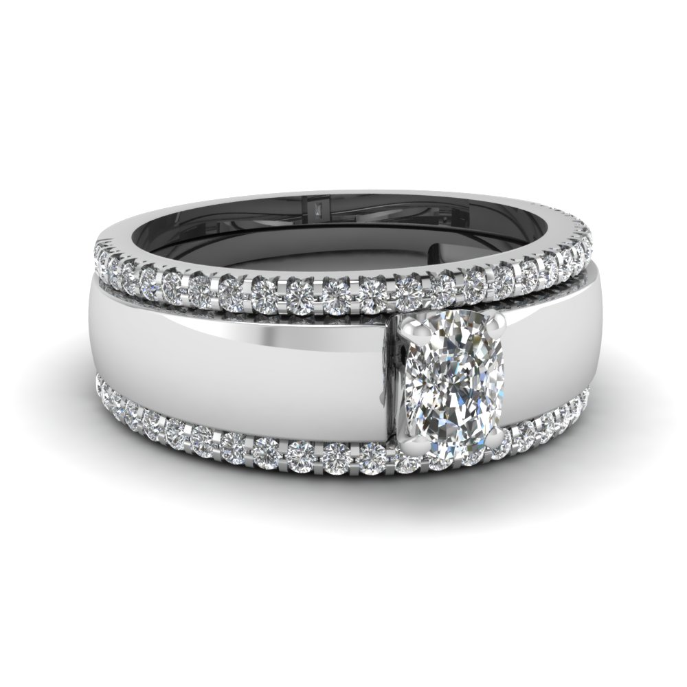 Cushion Trio Wedding Ring Sets
