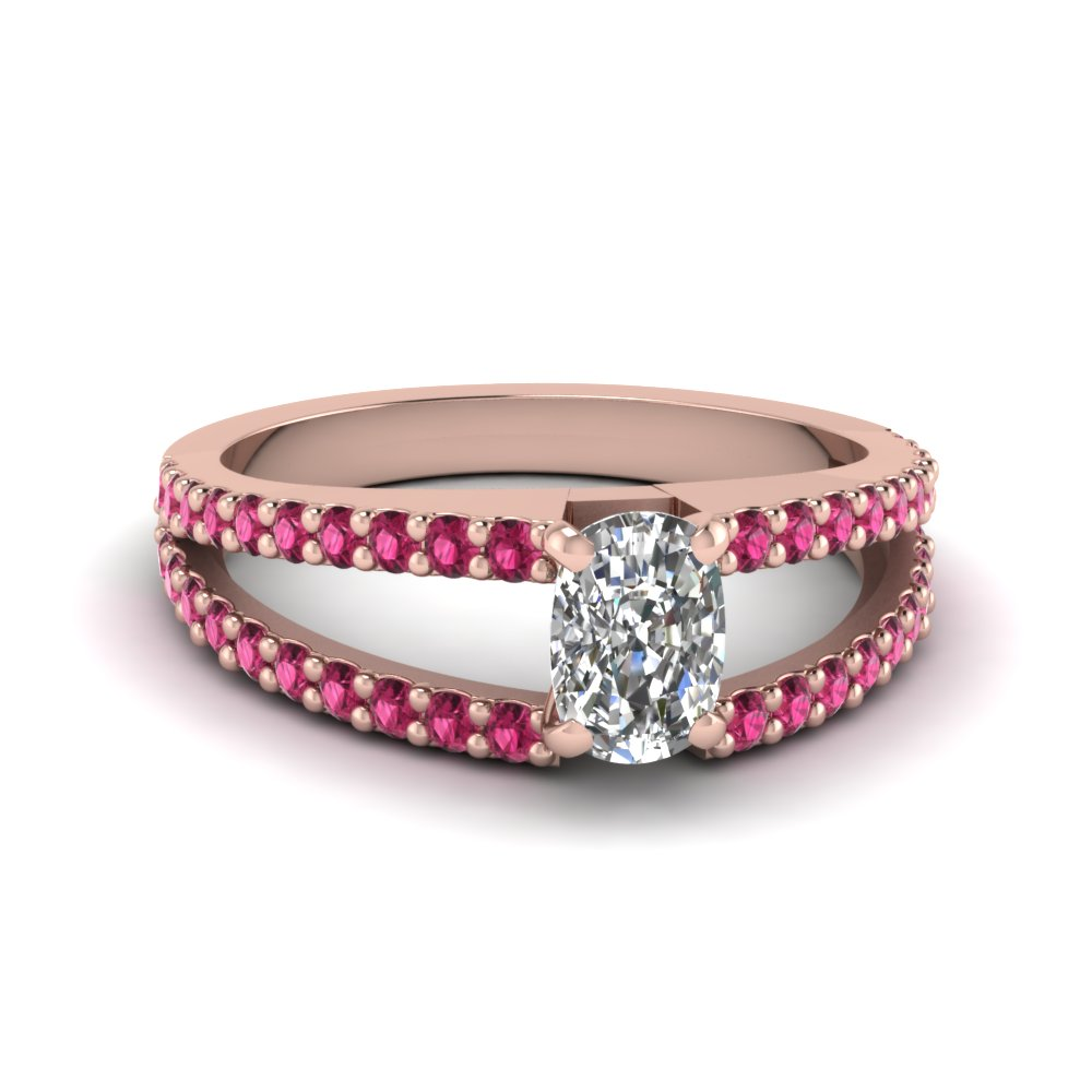 cushion cut split band gemstone with diamond engagement ring with pink sapphire in FDENR8335CURGSADRPI NL RG GS