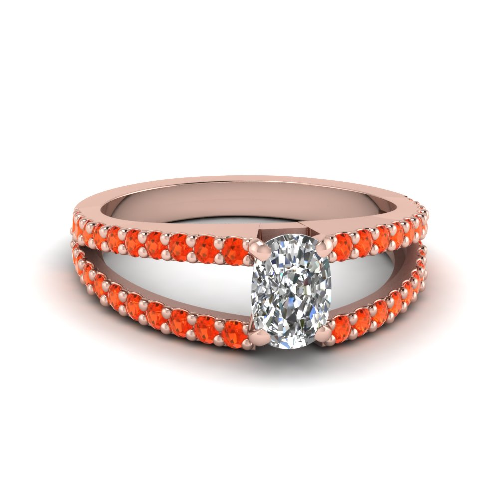 cushion cut split band gemstone with diamond engagement ring with poppy topaz in FDENR8335CURGPOTO NL RG GS