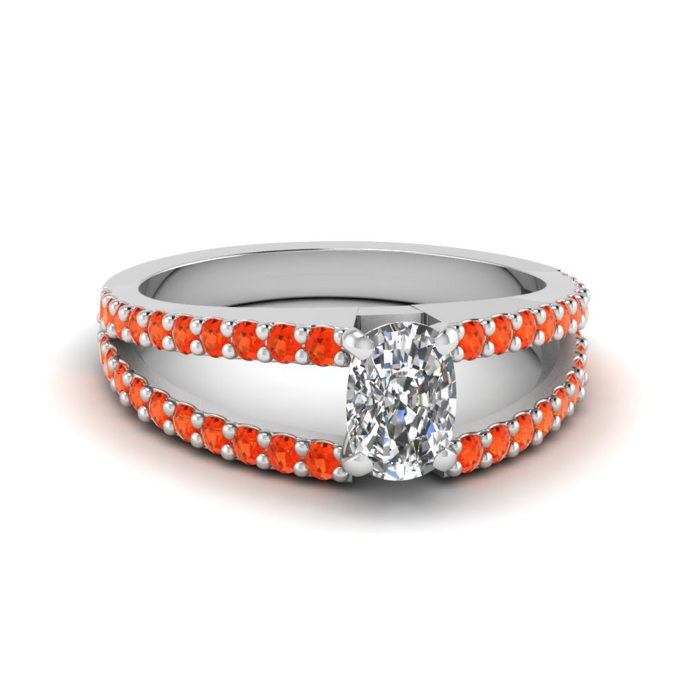 cushion cut split band gemstone with diamond engagement ring with poppy topaz in FDENR8335CURGPOTO NL WG GS