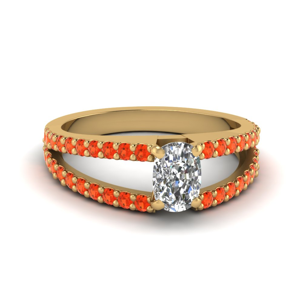 cushion cut split band gemstone with diamond engagement ring with poppy topaz in FDENR8335CURGPOTO NL YG GS