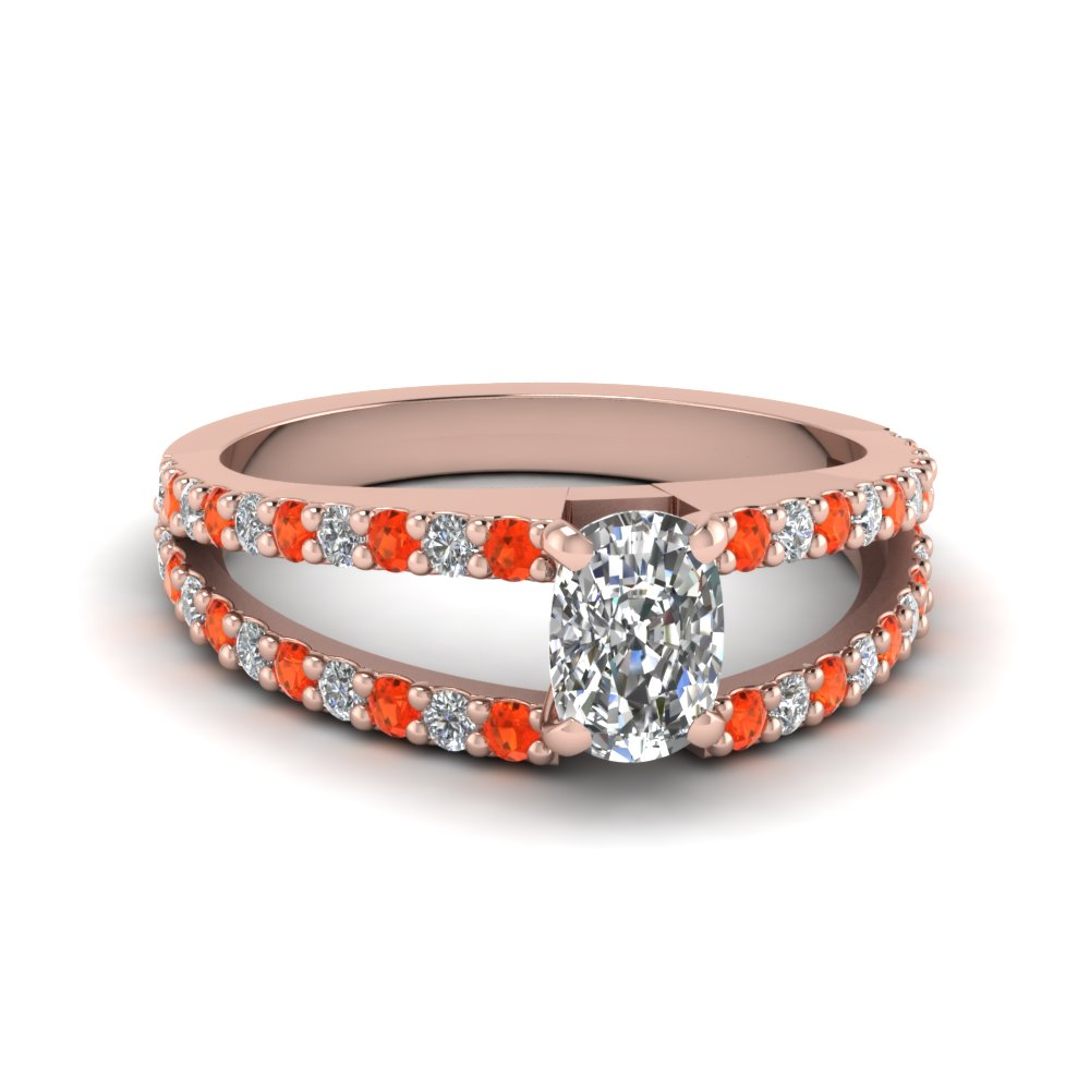 cushion cut split double band diamond engagement ring with poppy topaz in FDENR8335CURGPOTO NL RG