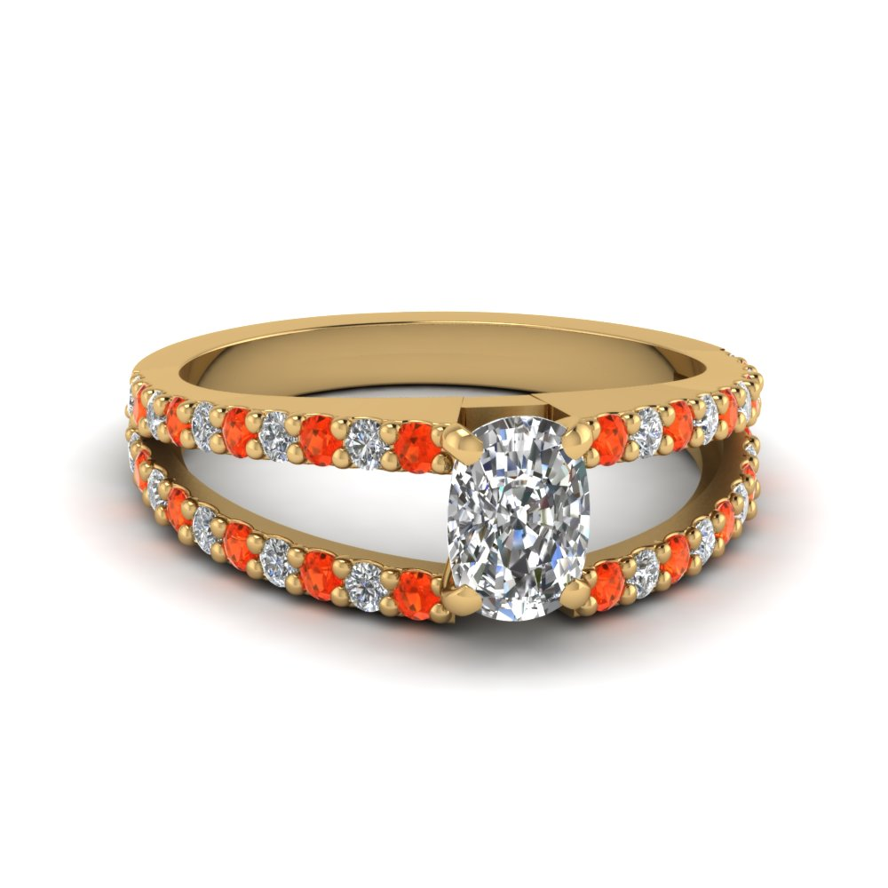 cushion cut split double band diamond engagement ring with poppy topaz in FDENR8335CURGPOTO NL YG