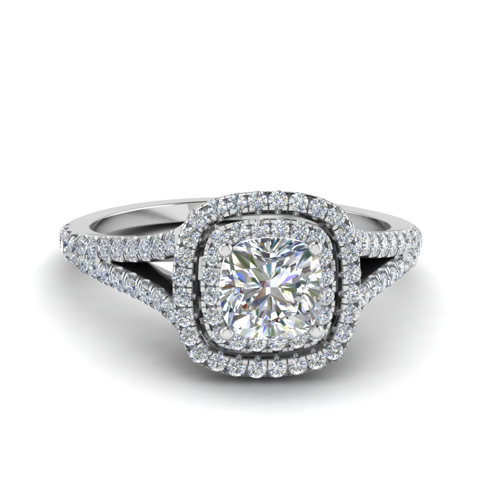 Cushion Cut Split Double Halo Ring