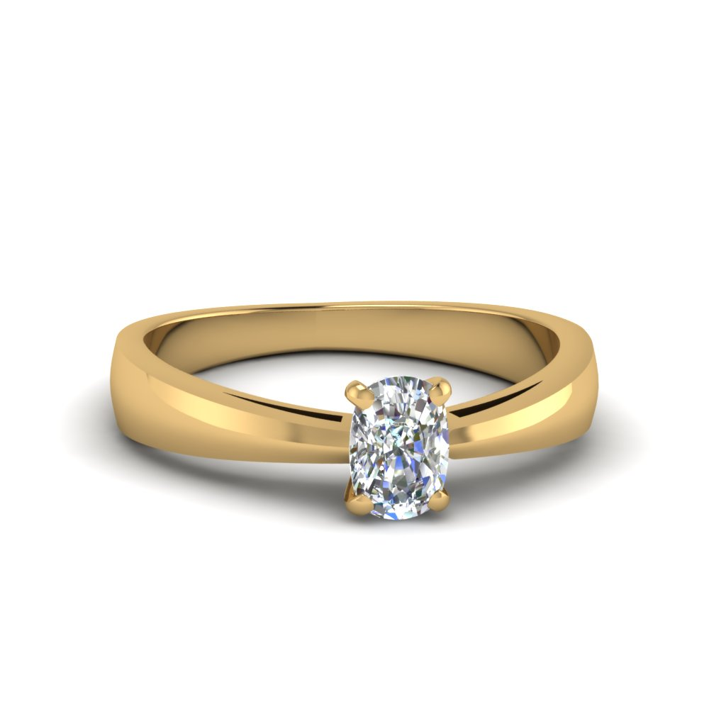 tapered cushion cut solitaire engagement ring in FDENR678CUR NL YG