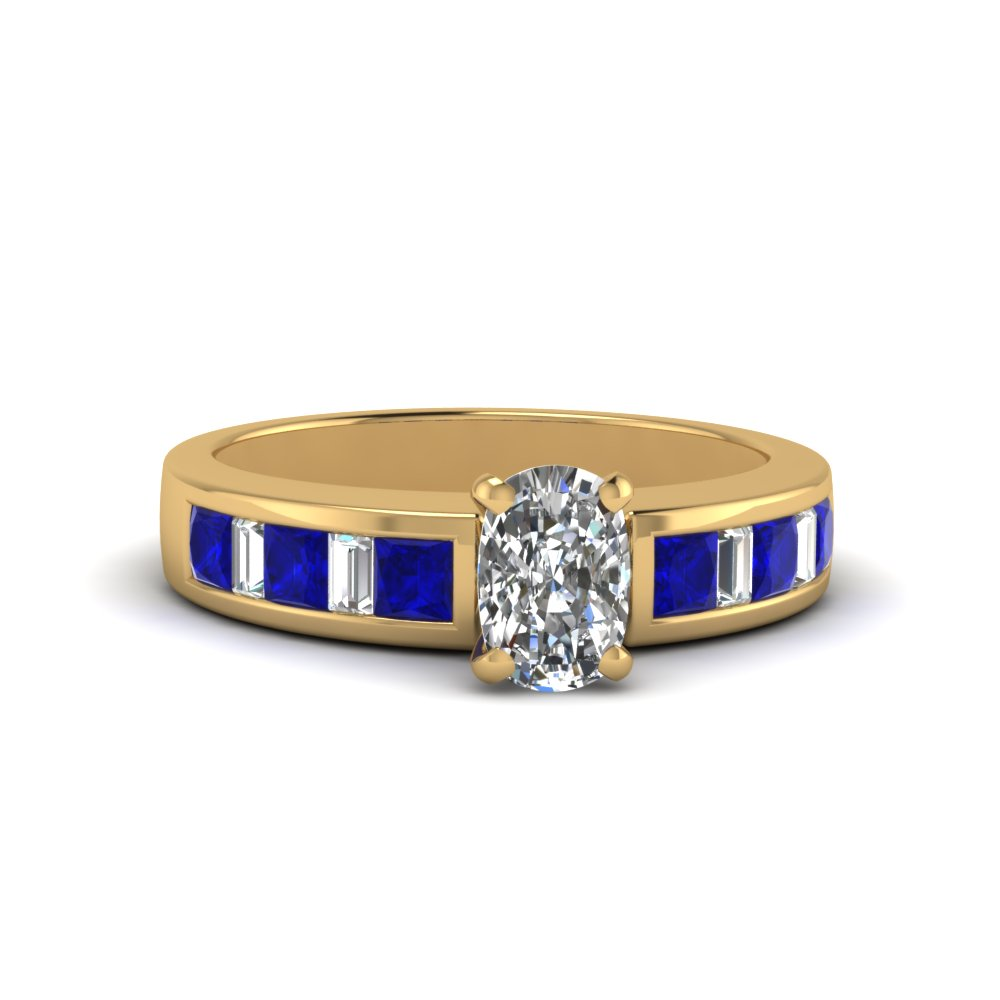 cushion cut thick band diamond and baguette engagement ring with blue sapphire in FDENS350CURGSABL NL YG