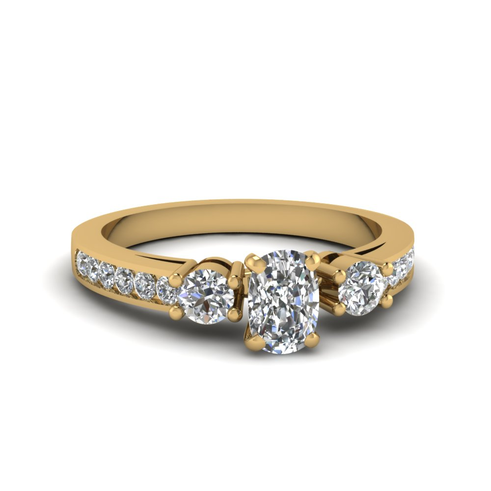 Cushion Cut Channel 3 Stone Diamond Engagement Ring In 14K Yellow Gold