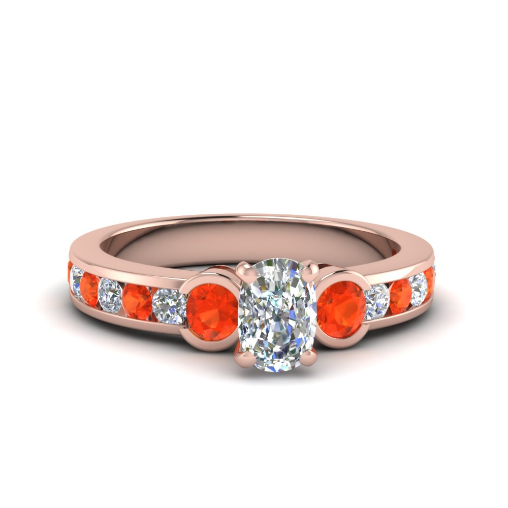 cushion cut three stone diamond engagement ring with poppy topaz in FDENS461CURGPOTO NL RG