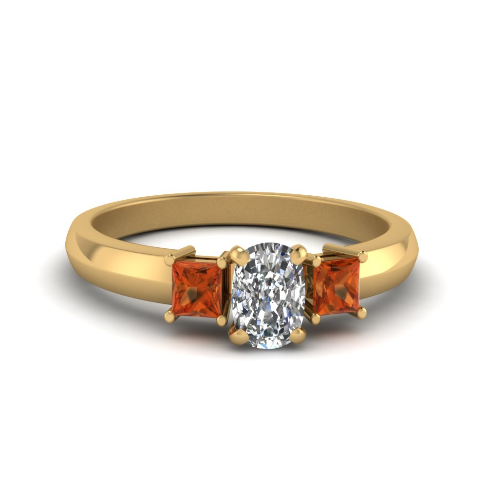 cushion cut glossy basket engagement ring 3 stone with orange sapphire in FDENR264CURGSAOR NL YG