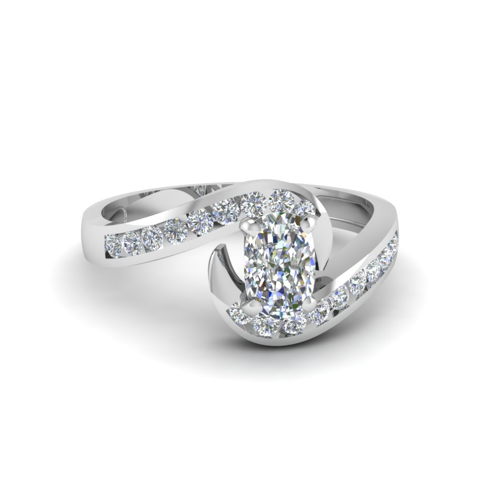 Beautiful Swirl Channel Diamond Ring