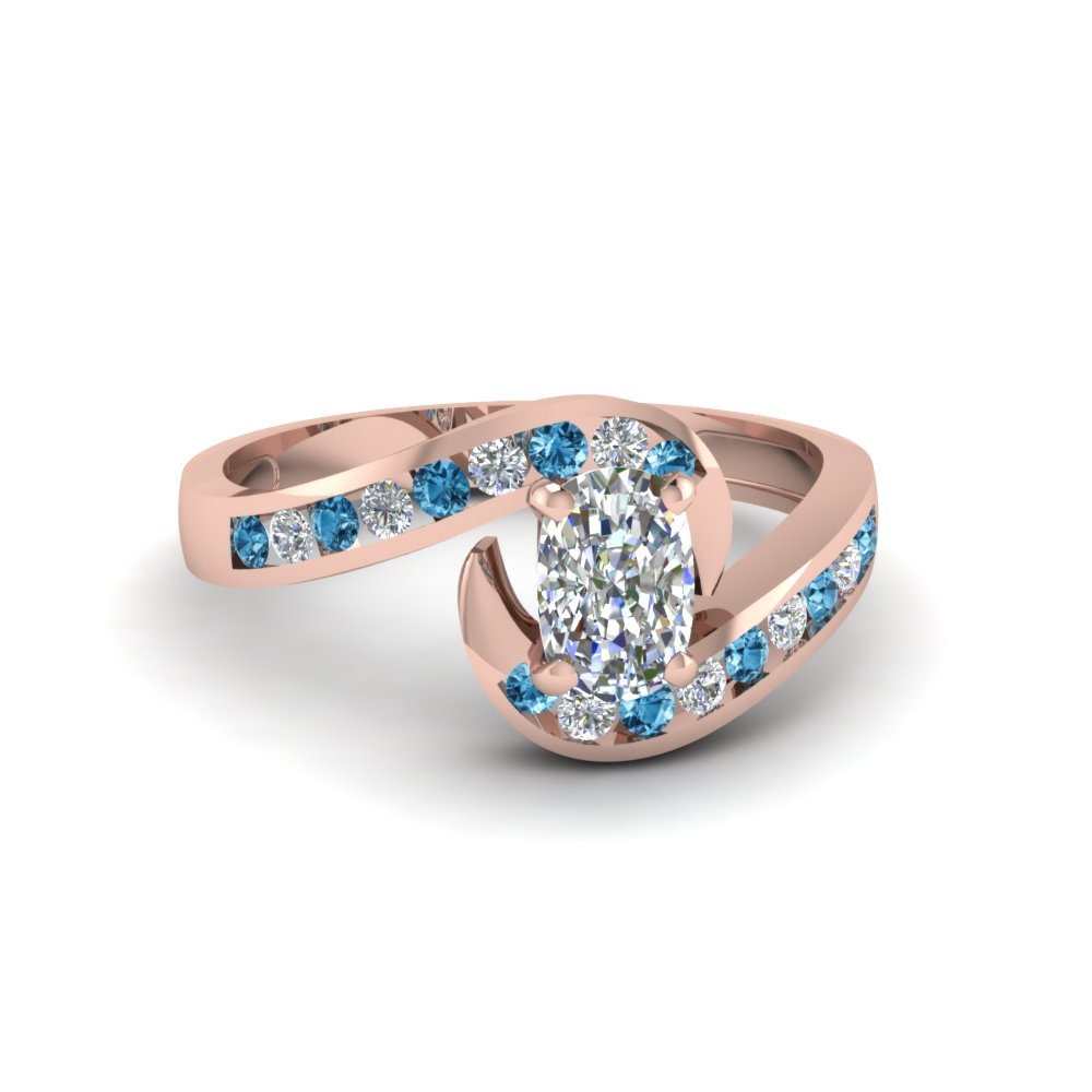 cushion cut twist channel set diamond engagement ring with ice blue topaz in 14K rose gold FDENS594CURGICBLTO NL RG