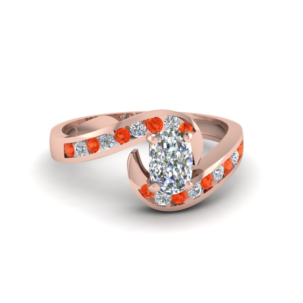 cushion cut twist channel set diamond engagement ring with poppy topaz in 14K rose gold FDENS594CURGPOTO NL RG