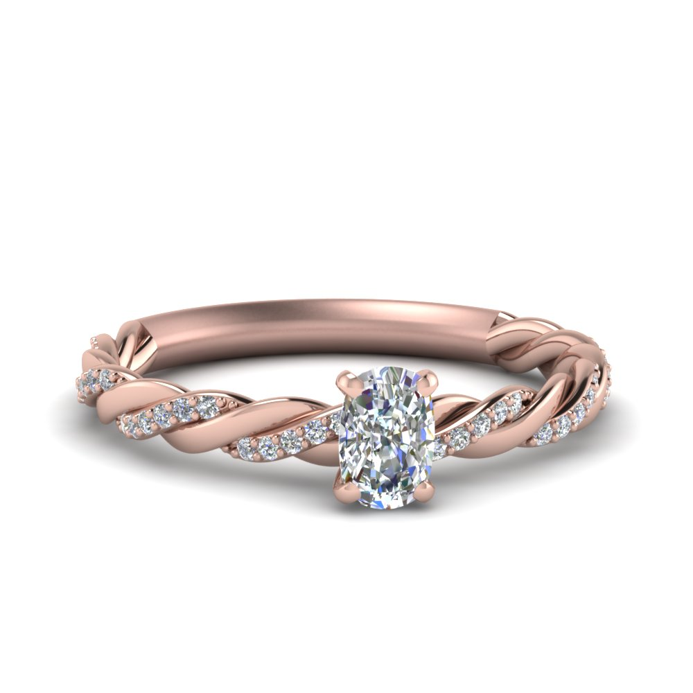 Cushion Cut Twisted Delicate Ring