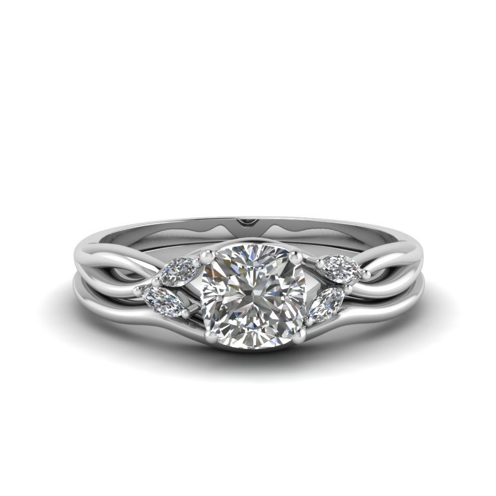 cushion cut twisted diamond ring with matching curved band in FD8300 CU NL WG