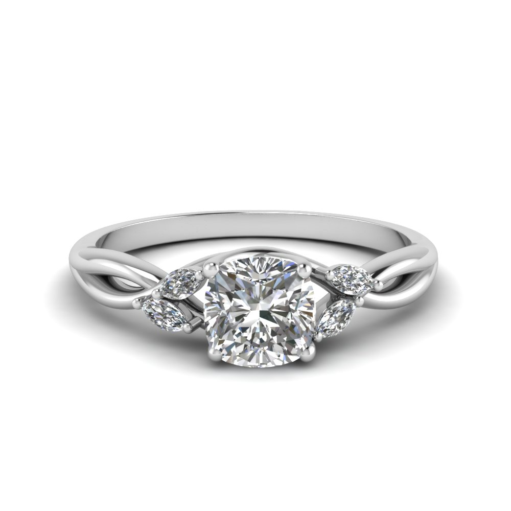Cushion Split Shank Engagement Rings