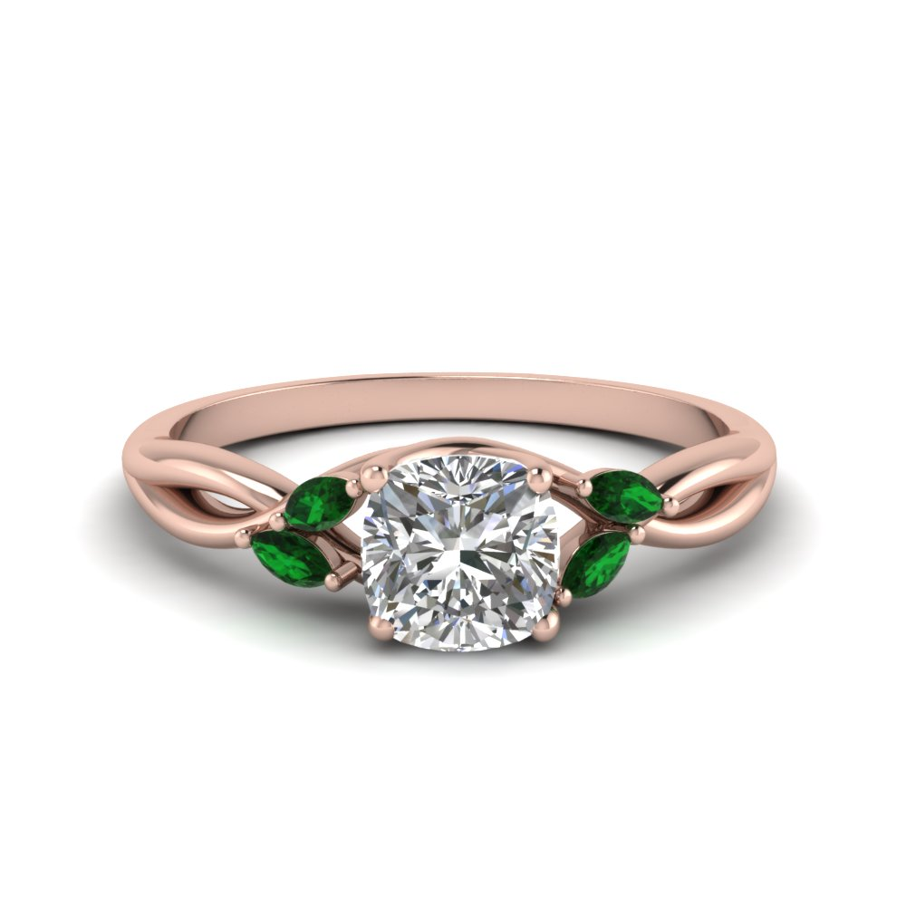 Twisted Diamond & Emerald Engagement Ring