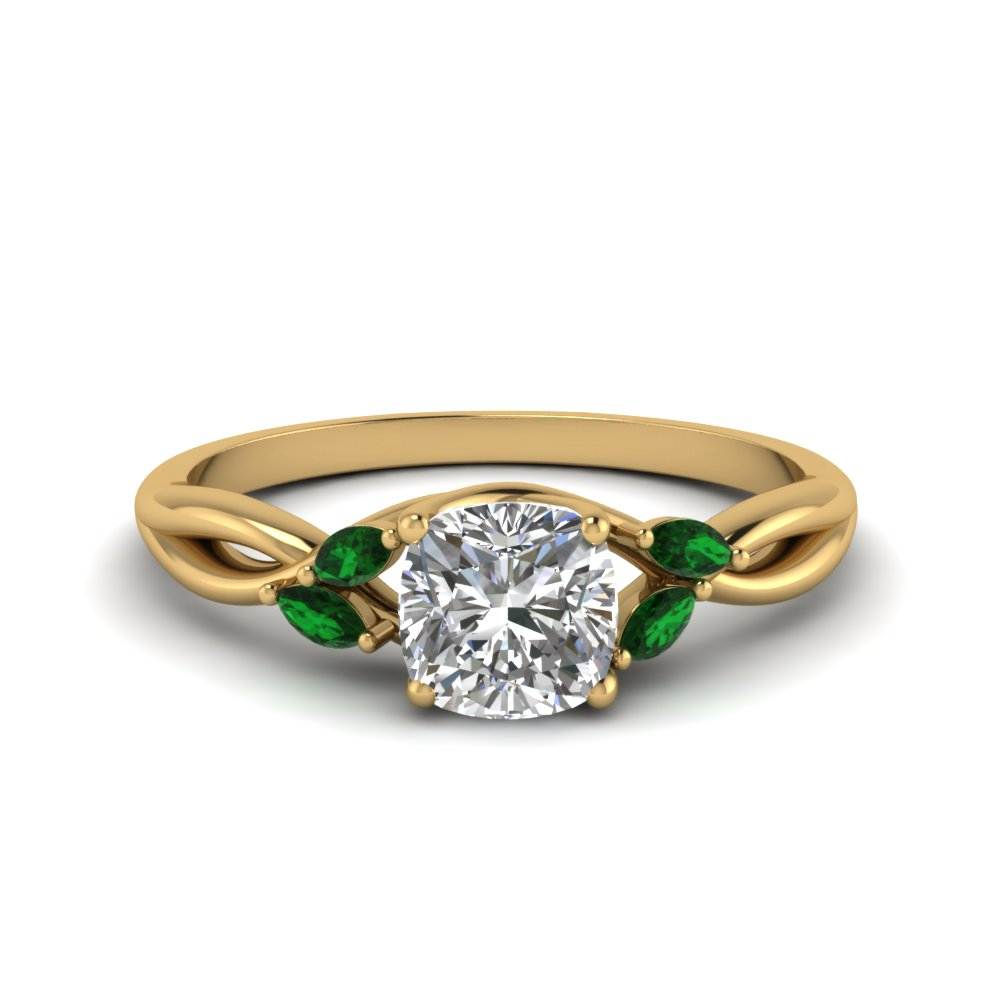cushion cut twisted petal diamond engagement ring with emerald in 18K yellow gold FD8300CURGEMGR NL YG