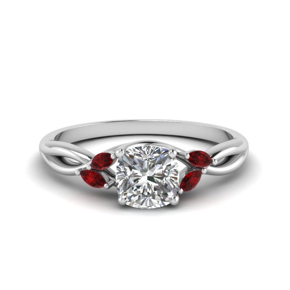 Cushion Cut Twisted Petal Diamond Ring