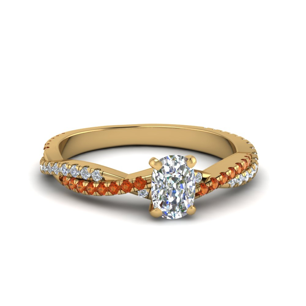 cushion cut twisted vine diamond engagement ring for women with orange sapphire in 14K yellow gold FD8233CURGSAOR NL YG
