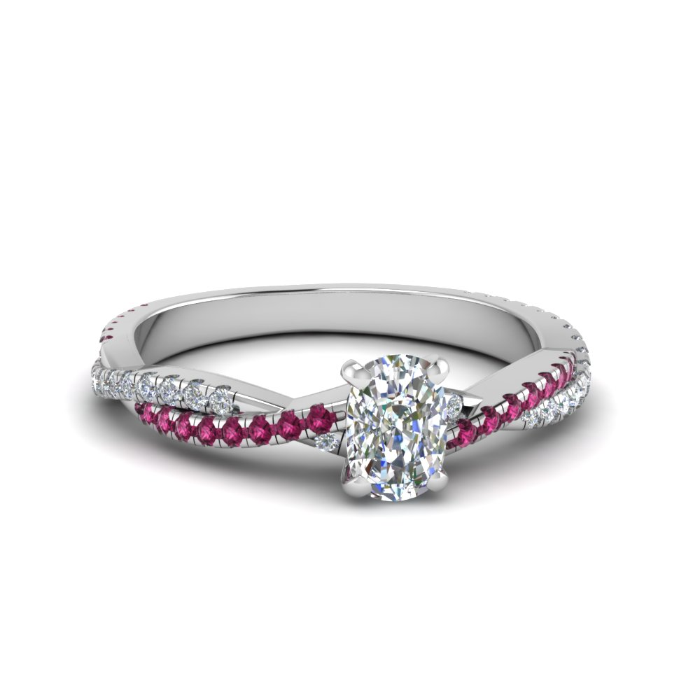 cushion cut twisted vine diamond engagement ring for women with pink sapphire in 14K white gold FD8233CURGSADRPI NL WG
