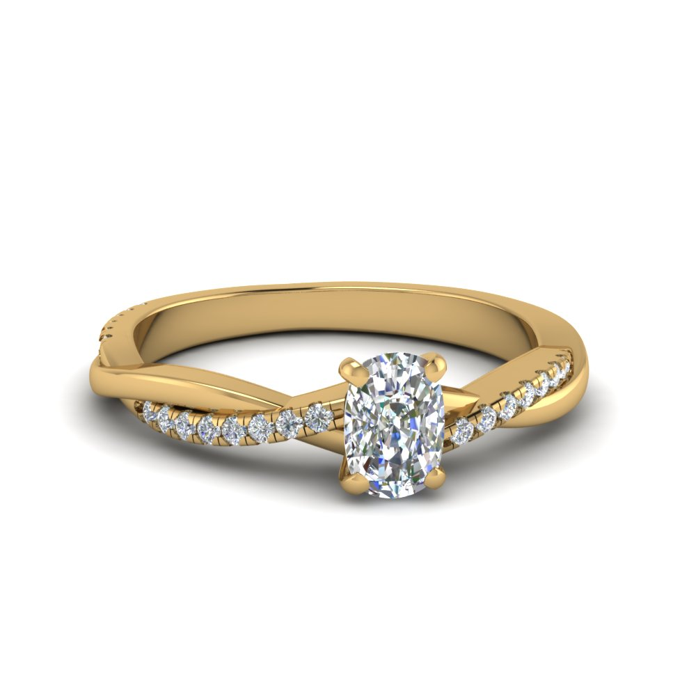 Twisted Vine Cushion Diamond Ring