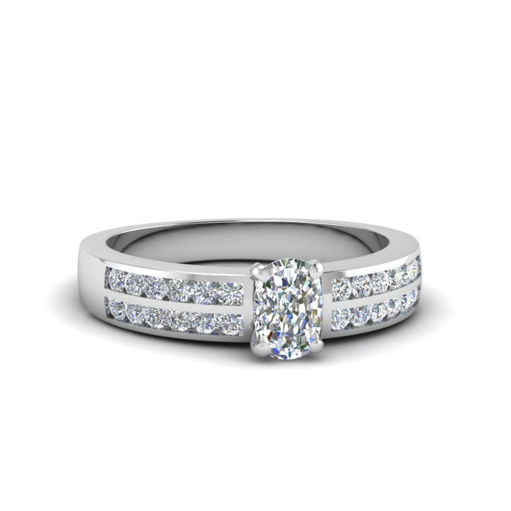 two row channel diamond cushion cut engagement ring in FDENS3119CUR NL WG