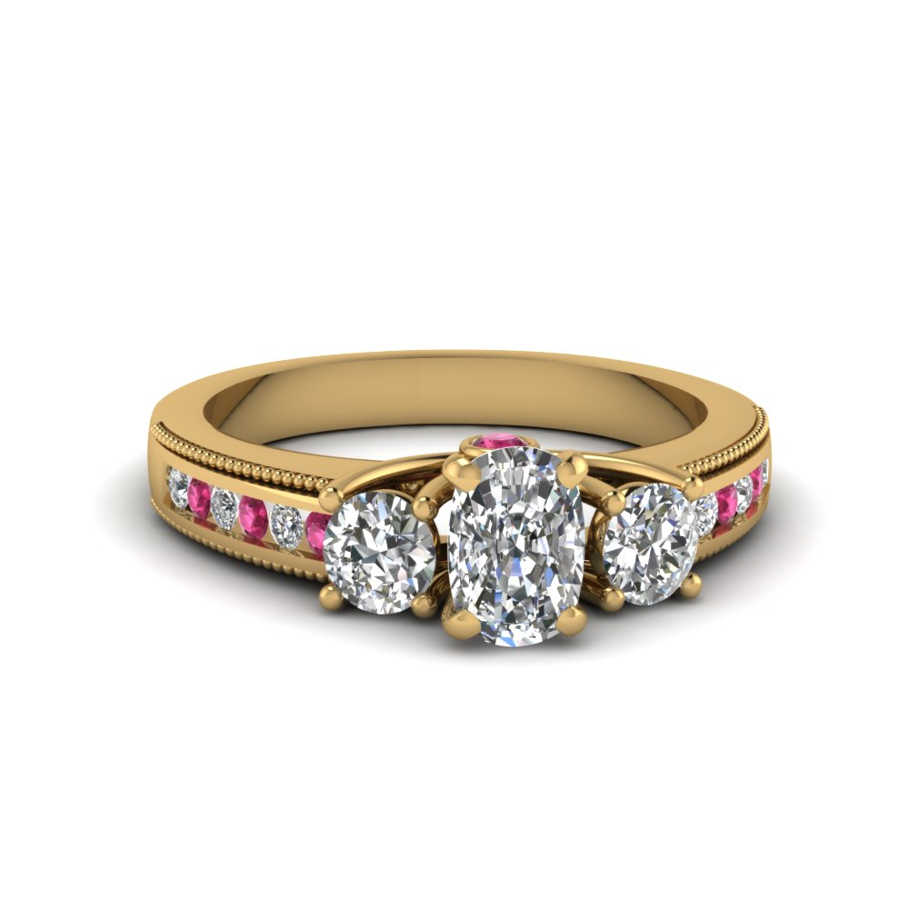 3 stone milgrain cushion diamond engagement ring with pink sapphire in FDENR7325CURGSADRPI NL YG