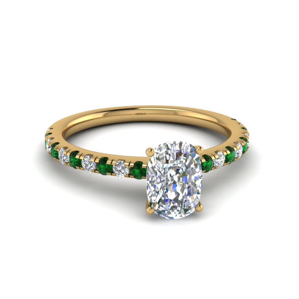 cushion cut u prong diamond engagement ring with emerald in FD8362CURGEMGR NL YG