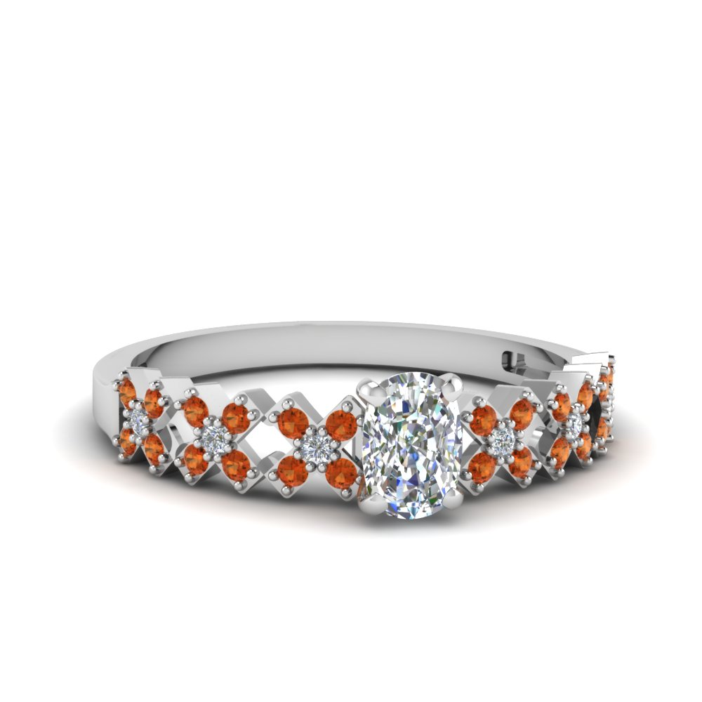 Cushion Cut Orange Sapphire Petite Rings