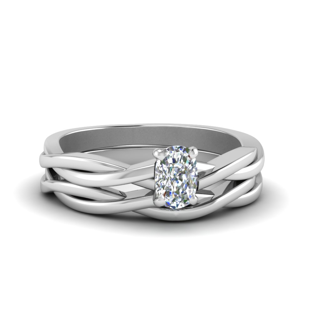 Cushion Cut Vine Braided Solitaire Bridal Set In 14K White Gold