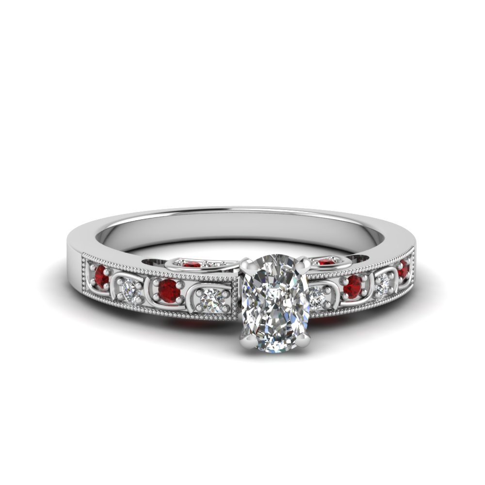 ca3059448d5548 Antique Engagement Ring Cushion Cut diamond Petite Engagement Rings with  Red Ruby in 14K White Gold [ Setting + Center Stone ]