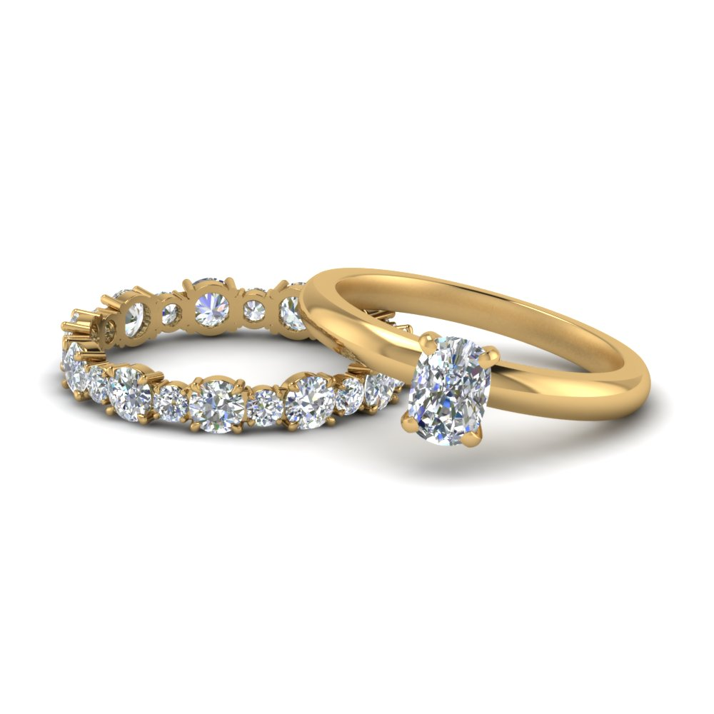 Cushion Cut Wedding Ring Sets